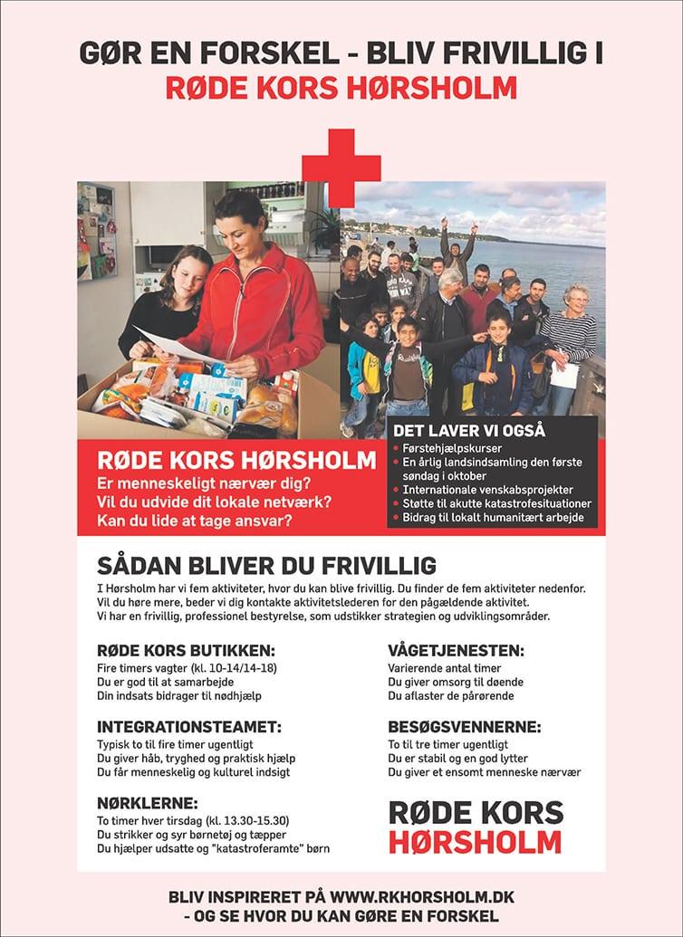 Røde Kors Hørsholm annonce Feb 2016. udarbejdet af Jerry Ritz.
